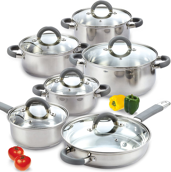 Cook N Home 02410 Stainless Steel 12-Piece Cookware Set