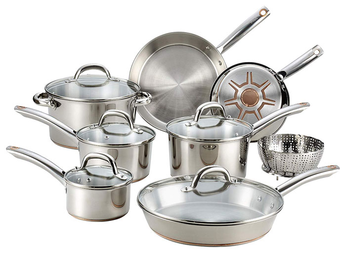 T-Fall Stainless Steel with Copper Core Bottom Cookware Set